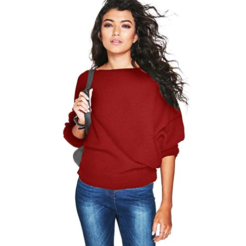 Perman Women Batwing Sleeve Knitted Pullover Loose Sweater Jumper Tops Knitwear (L, Red)