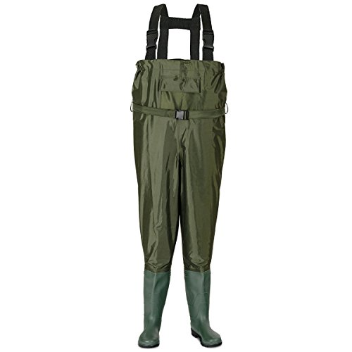 - Tangkula Waterproof Chest Waders Nylon PVC Bootfoot Chest Fishing & Hunting Waders Adjustable Suspenders 9 to 12(Green, M)