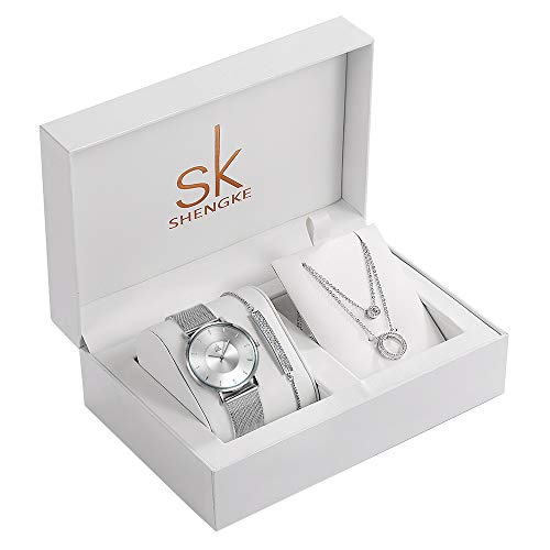 SK Shengke Mesh Band Womens Diamond Watches Set with Necklace Bracelet Wrist Watches Set for Women Female Girl Ladies Wrist Quartz Watches Set with Jewelry (FK0059SR-SL007-XL005) from sk SHENGKE