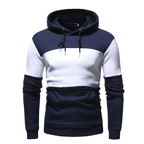 BHYDRY Fashion Mens' Autum Winter Long Sleeve Patchwork Fleece Hooded Sweatshirt Round Neck Outwear Tops Navy
