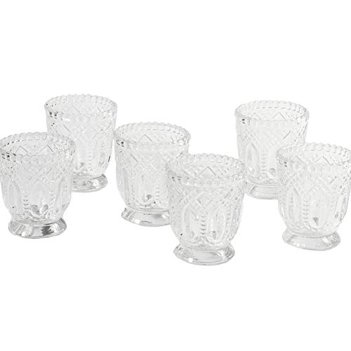 Koyal Wholesale Vintage Glass Candle Holder (Pack of 6), 3 x 2.75