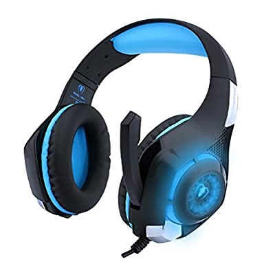 Gaming Headset for PS4 PSP Xbox PC Headphone Tablet Laptop Microphone, Headband Led Light GM-1 Headphone with Adapter Cable