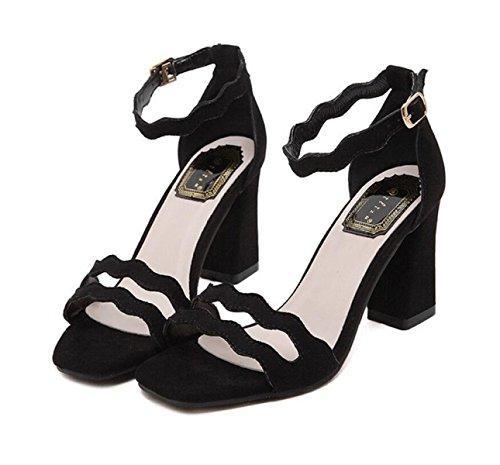 GRRONG Sandalias De Mujer Cabeza Cuadrada De Gamuza Sandalias Huecos Huecos Black