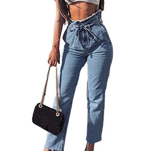 Ceinture Crayon Cheville Bleu Jeans Denim Pantalon Prettyp Femmes Longueur Taille Haute qvxnt04E
