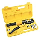 UKCOCO 8 Ton Hydraulic Wire Terminal Crimper Battery Cable Lug Crimping Tool with 8 Dies for Crimping and Joining Aluminum Copper Wires Cables (4-70mm)