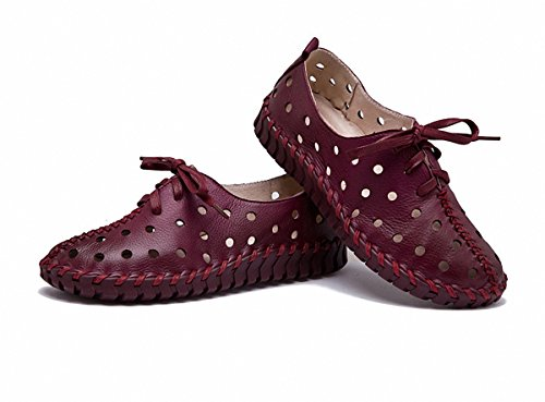 Women Loafer Flats Fashion Hollow Out Driving Loafers Leather Casual Flat Shoes Wine Red P5lQ3T