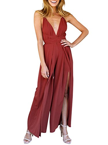 BerryGo Womens Sexy Backless Deep V Neck Lace Up Split Wide Leg Jumpsuit