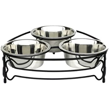 Pet Supplies : NMN Products Triple Bowl Dog Feeder - Bone