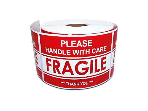"2"" x 3"" Please Handle With Care – Fragile – Thank You, Warning Shipping Labels (1 Roll, 500 Stickers/Roll) - Perfect for Sticking onto Moving Supply, Moving Boxes, Moving Wrap, ()"