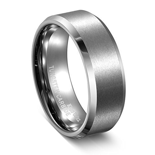 King Will Unisex 8mm Tungsten Carbide Matte Polished Finish Wedding Engagement Band Ring 10