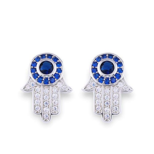 Ethnic Gold Color Fatima Hamsa Hand Stud Earrings Women Blue Zircon Evil Eye Earrings 925 Vintage Jewelry Gift Ersm21 ()