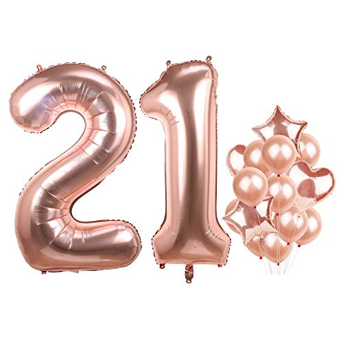 Number 21 Birthday Balloons Rose Gold Big Mylar Foil Helium Balloons Set for Girls Giant 21st Birthday Party Decor]()