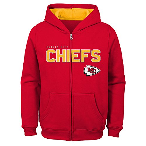 (Outerstuff NFL Kansas City Chiefs Kids & Youth Boys Stated Full Zip Fleece Hoodie, Red, Kids Small(4))