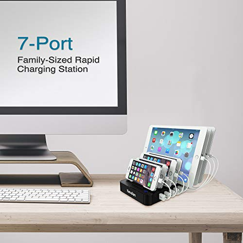 Kavalan 7 Port USB Charging Station Dock & Organizer with 2 Fast Charging Port, Universal Desktop Tablet & Smartphone Multi-Device Charger Hub with Smart (7 Port+65W/Support 7iPad/5Free Cable/Black)