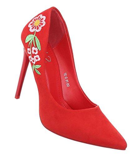 Damen Schuhe Pumps High Heels Rot