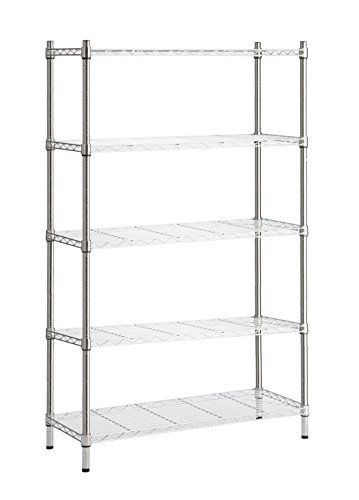 Review StorageManiac 5-Tier Wire Shelving Unit, Adjustable Steel Storage Rack, Chrome By Storagemaniac by Storagemaniac