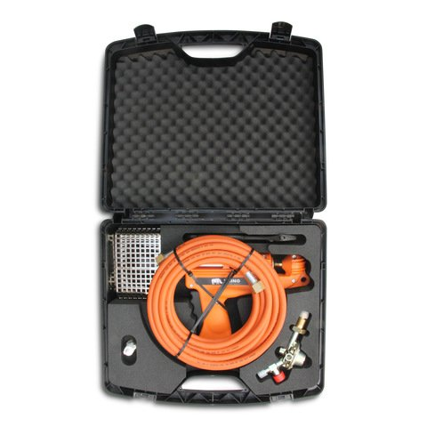 Gas Shrink Wrapping Heat Gun Kit - Includes 8 Metre Hose, Regulator, Spanner, Case, Instructions + FREE Shrink Wrapping Gloves (Black ()