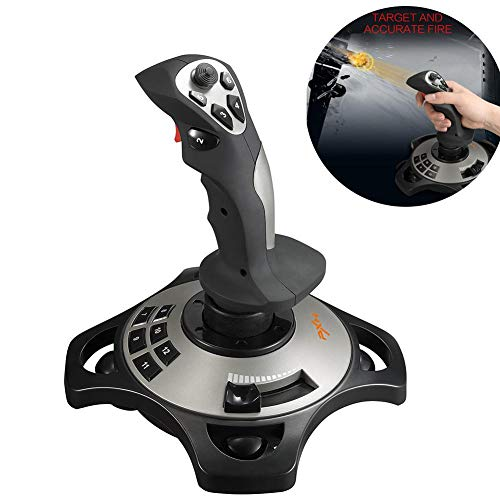 Nicemeet Computer Game Simulation Flight Controller Joystick, USB Interface Computer Game Flight Joystick with Vibration PXN-2113