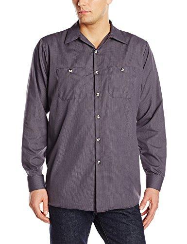 Red Kap Men's Geometric Micro-Check Work Shirt, Blue/Charcoal, Large ()