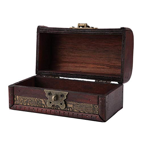 FTVOGUE Egyptian Wooden Antique Old Jewelry Storage Box Trinket Box Shooting Furnishings Props Handmade Crafts (#1: Password Lock S)