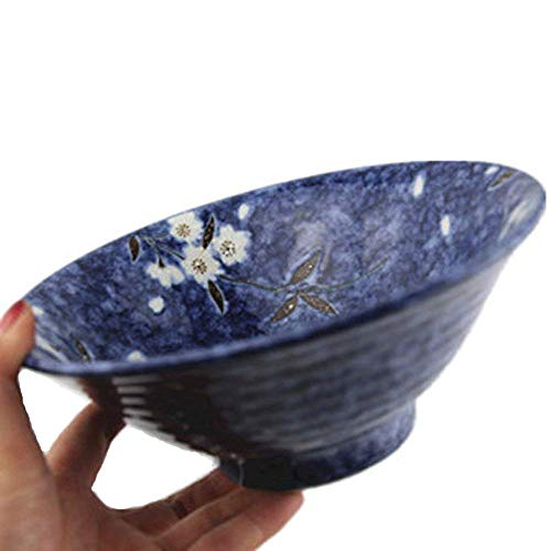 Canju Dining Toollarge Soup Ramen Noodle Bowl Fruit Salad Pasta Mixing Serving Bowl Creative Ceramic Hand Painted Cherry Blossom Tableware Oven Microwave Safe 7.5 Inches Outdoor Camping Lunch ()