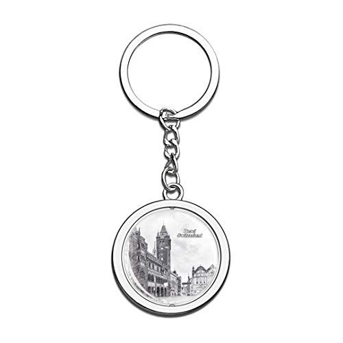 Switzerland Marktplatz & Town Hall Sketch Keychain 3D Crystal Spinning Round Stainless Steel Keychains Travel City Souvenirs Key Chain Ring