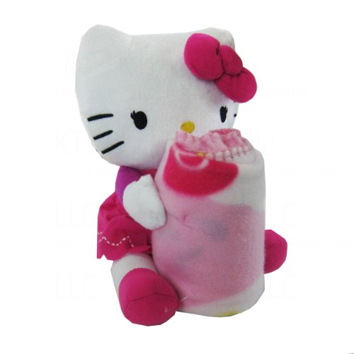 (Officially Licensed Fleece Throw Blanket and Stuffed Character Plush Pillow - Hot Pink Hello Kitty)