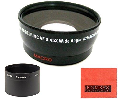52mm 0.43x Wide Angle Lens with Macro For Panasonic LUMIX DMC-LX7K Digital Camera + Tube Adapter + More!!