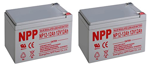 NP 12V 12Amp 12 Volt 12Ah SLA Sealed Lead Acid Battery With F1 Style Terminals / 2 Pack