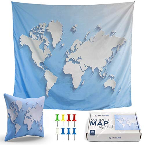 DECKOLAND Blue Tapestry World Map - Map World Tapestry Wall Hanging Home Decor Living Room Bedroom Dorm 51.2 x 59.1 – 3D Ocean Tapestry for Men Earth Large Art - World Map Pillow Case, 8 Push Pins