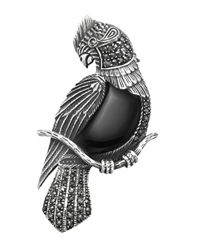 Wild Things Sterling Silver & Marcasite Cockatoo Pin w/Simulated Black Onyx