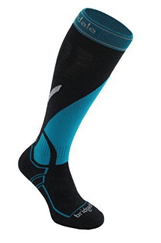 Bridgedale Women's Vertige Mid Socks, Medium, Gunmetal/Turquoise ()