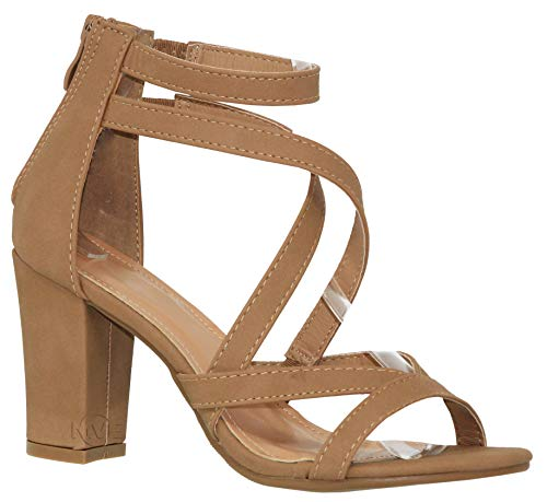 MVE Shoes Women's Strappy Open Toe Chunky Heel-Comfy Stacked Heeled Sandal-Sexy Party Dress Sandal, tan Size 9