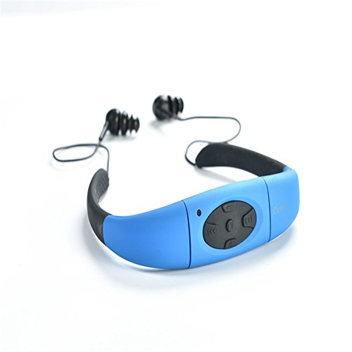 GZCRDZ Newest Waterproof bluetooth MP3 Music Player Underwater Swim Surfing Diving Neckband Sports Stereo Earphone Headset Headphone IPX8 (Blue)