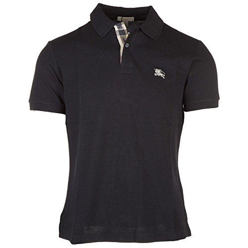 Burberry Men's Solid Black Short Sleeve Cotton Pique Logo Basic T-shirt Polo (2XL)