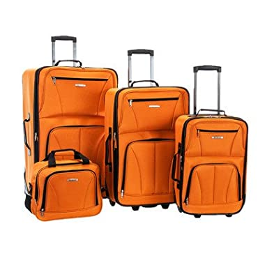 Rockland 4 Piece Luggage Set, Orange