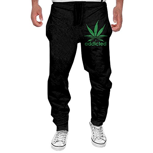 Men Addicted Green Leaf Weed Day Casual Sweatpants L (Weed Pajama Pants)