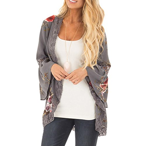 Syban Women Lace Floral Open Cape Casual Coat Loose Blouse kimono Jacket Cardigan (M, Gray)
