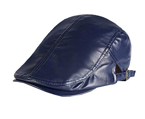 Cappellino blu sintetica in per pelle piatto monoscocca uomo Berretto regolabile berretto SqtY6wp