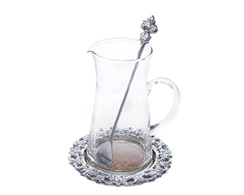 Silver Tone Coaster Set - Arthur Court Designs 3-Piece Beverage Pitcher Fleur-De-Lis Pattern 8.5