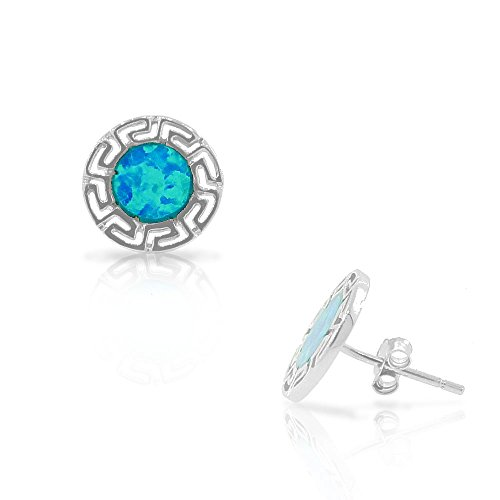 925 Sterling Silver Greek Key - 925 Sterling Silver Blue Turquoise-Tone Simulated Opal Round Greek Key Stud Earrings