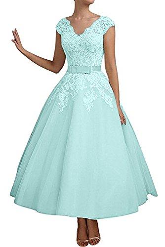 (Jdress Women's Vintage Short Tea Length Lace Wedding Dresses for Bride 2019 Mint Green)