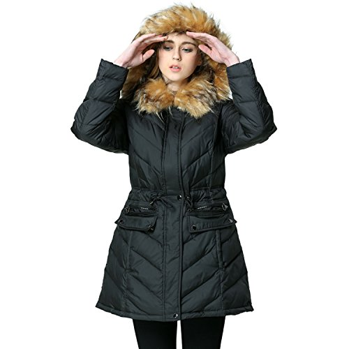 EOVVIO Women's Long Thickened Fur collar Hooded Down Jacket Coat (L, Black)