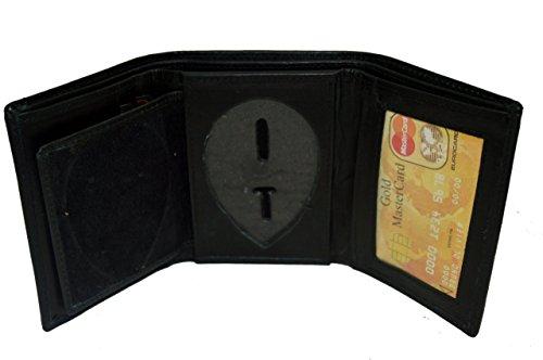 Leatherboss Police Shield Shape Badge Holder Trifold Wallet - Black