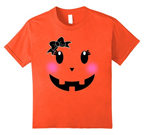 Teenage Girl Diy Costumes (Kids Pink Blusher Pumpkin Face Shirt for Halloween Costume Ribbon 8 Orange)