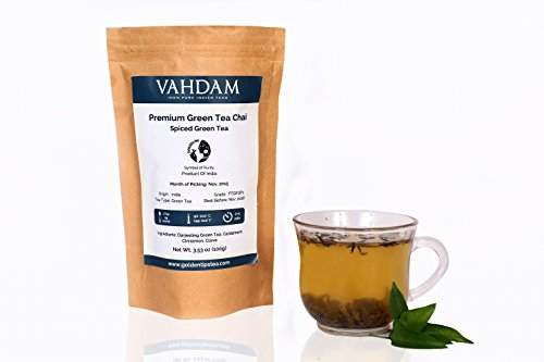 Darjeeling Loose Leaf Masala Chai Tea Detox & Cleanse With Our Premium Organic Green Tea - Packed With Rare Indian Spices & Powerful Antioxidants- Makes 50 Cups-3.53oz