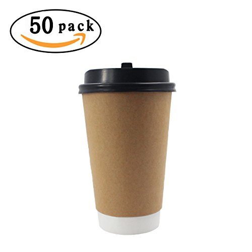 50 Packs 16 OZ Hippih Eco-friendly Disposable Hot Coffee Paper Cups with Lids - Disposable Coffee Mugs With Lids