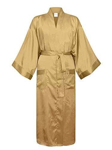 - Swhiteme Men's Kimono Robe, Large/X-Large, Champagne