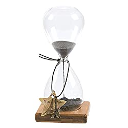 Sand Timer – Hourglass Sand Timer, Sand Timer Durable Glass Black Sand Clock with Wooden Base Stand & Eiffel Tower Charm - 3.1 x 6.9 x 3.1 Inches