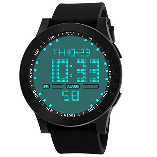 Fashion Clearance Watch! Noopvan Mens Digital Sports Watches Waterproof Large Face LED Screen Military Watches and Casual Waterproof Luminous Simple Army Watch Stopwatch Alarm, Mens Watches (Black)